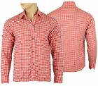 Mens Bavarian Red Checked Classic Style Lederhosen   Shirts