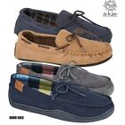MENS FAUX SUEDE  MOCASSINS COMFY WARM FLAT LACE UP SLIPPERS SHOES SIZES 7-12