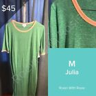LuLaRoe M Julia - Green with Pink Accents