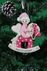 Personalised Baby's 1st Christmas Tree Ornament for Baby Pink Pony & Blue Pony