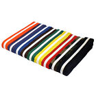 "NEW Martial Arts 1.5"" Wide Karate Taekwondo Double Wrap WHITE Striped Belts"