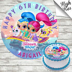 SHIMMER AND SHINE ROUND EDIBLE BIRTHDAY CAKE TOPPER DECORATION PERSONALISED
