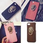 Fashion Snake Skin Phone Case Cover with 3D Metal Ring Stand Holder For iPhone