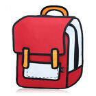 Creative 3D Stereoscopic Cartoon Nylon Backpack Schoolbag Red-HOT