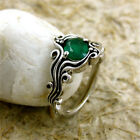 1.6ct Emerald Women 925 Silver Jewelry Wedding Gift Engagement Ring Size 6-10