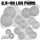 "Standard Weight Plate Pairs 1"" Hole Cast Iron Home Gym Exercise 2.5-50lb Weights"
