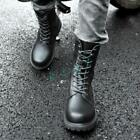 Roman Men Ankle Boots Punk Motorcycle Lace Up PU Leather Military Combat Shoes