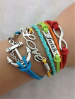 NEW Jewelry Women's Fashion Leather Cute Infinity Charm Bracelet Accessories Hot