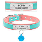 Personalized Dog Collars Custom Soft Padded Leather Pet Name ID Collar Tag XS-M