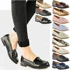 WOMENS LADIES OFFICE FLAT CASUAL PATENT FAUX LEATHER FRINGE TASSEL LOAFERS SHOES