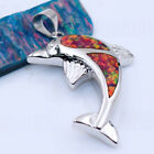 Dolphin Fire Opal Women Fashion Jewelry Gems Silver Pendant P268