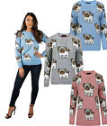 New Women Ladies Pug Knitted Printed Jumper Sweater Cardigan Dog Funny Top Pet