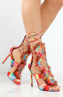 Strappy Lace Up Caged Open Peep Toe Multicolored Heel
