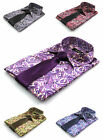 Mens Purple Black Green Red Blue Paisley Silk Satin Dress Mod Shirt All Sizes
