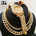 "Hip Hop 16"" Full Iced Choker Chain & 1 ROW DIAMOND CHAIN & Watch & Ruby Ring Set image"
