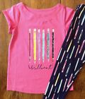 NWT Gymboree 5 6 7 8 10 BRILLIANT Top & Pencil Print Leggings Outfit Pink Girls