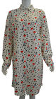Women's Dot Print Buttons Down Collar Long Sleeve Tops Shirts Blouse Knee Length