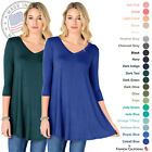 FACA Womens V-Neck 3/4 Sleeve Loose Fit Tunic Top (S-XXXL)
