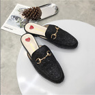New Women Sequins Princetown Loafers Horsebit Buckle Slide Slippers Mules Shoes