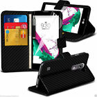 Executive Quality Leather Wallet Book Style Phone Case Cover✔Black Carbon Fibre