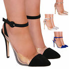 NEW LADIES WOMENS COURT PERSPEX POINTED FASHION STYLE HIGH HEELS SHOES SIZE 3-8