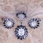 Natural Jewelry Set Black Sapphire CZ 925 Silver Necklace Pendant+earring+Ring