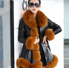Large size leather fox fur clothes V collar long sleeve winter coats