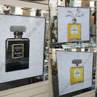 Black OR Gold perfume bottles with liquid art,crystals & mirror frames