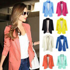 Casual Slim Solid Suit Blazer Coat Jacket Outwear Women Candy Color No Buckle