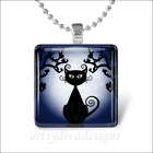 HALLOWEEN SPOOKY BLACK CAT MOON GLASS PENDANT NECKLACE