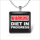 WEIGHT LOSS DIET GLASS TILE PENDANT NECKLACE design 2