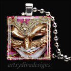 MARDI GRAS THEATER DRAMA MASK GLASS PENDANT NECKLACE