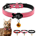 Soft Suede Leather Personalized Cat Kitten Dog Pet Puppy Collars Engraved  Bell