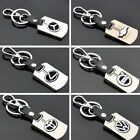 auto car logo - Auto Car Logo Leather Metal Zinc Alloy Key Chains Silver Keyring for All Models