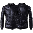 Men's Slim Fit Zipper Stand Collar motorcycle Jacket Synthetic Leather Outwear