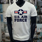 AIR FORCE USA PROUD AMERICAN PATRIOT VETERAN Mens White V-Neck T-Shirt image