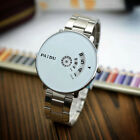 Personality casual Women man big dial steel band Quartz sport wrist watch