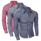 Fashion Men's Casual Long Sleeve Check Shirts Slim Fit Dress Shirts Tops Gift