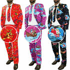 Mens Christmas Suit Jacket Novelty Print Xmas Party Festive Costume Fancy Dress