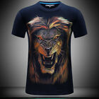 Lion Graphic 3D Print T-shirt Cotton New Tee Mens Round Toe Short Sleeve Tops