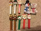 Collectable Chirstmas Holiday PEZ Dispenser Lot Plush Santa Snowman