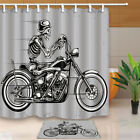 Skull and motorcycle Shower Curtain Bathroom Waterproof Fabric & 12hooks 71*71in