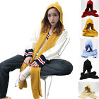 Women Girls Knitted Scarf Hat Braided Winter Hooded Skiing Scarves Snood Wraps