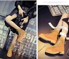 Retro Women's Lace Up British Low Heel Military Combat Korean Ankle Boots New