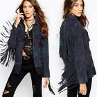 Women's Long Tassel Suede Jackets Retro Lady Coats Waist length Casual Outwear