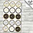 "15X 40TH BIRTHDAY 2"" ROUND EDIBLE CUPCAKE TOPPERS"