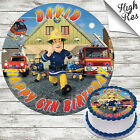 FIREMAN SAM ROUND EDIBLE BIRTHDAY CAKE TOPPER DECORATION PERSONALISED