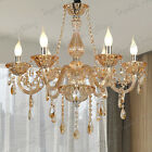 Genuine K9 Crystal Chandelier AMBER CHROME 6,8,10 Candle Arm Light Pendant Lamp