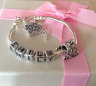 Personalised ANY NAME childrens girls pink princess carriage charm bracelet gift