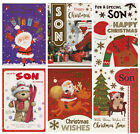 TRADITIONAL CUTE SON MERRY CHRISTMAS CARD VARIOUS DESIGNS 1STP&P GREETING CARDS